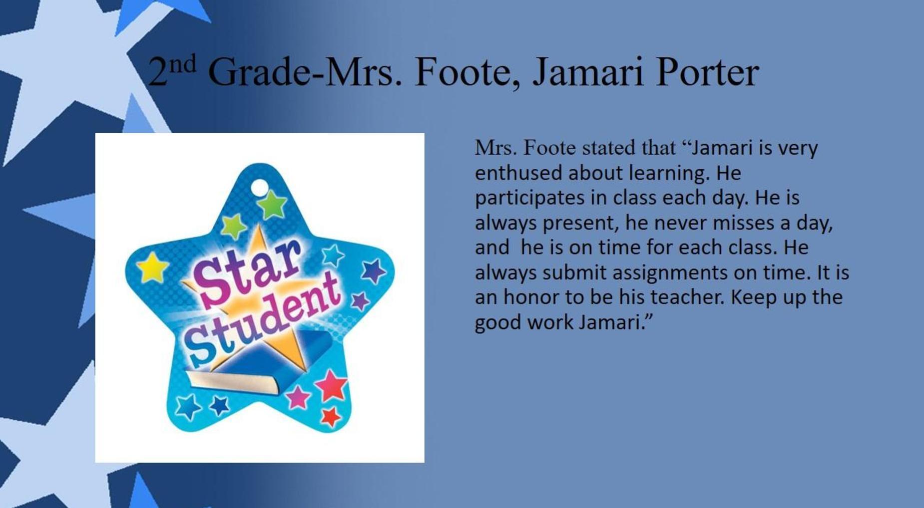 Jamari Porter, 2nd Grade