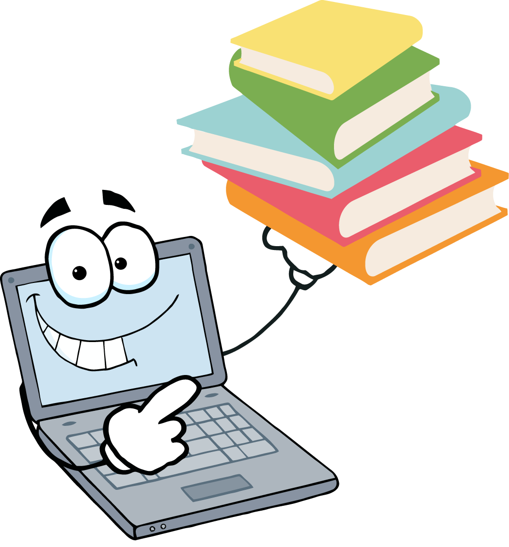 Clipart of a computer and books
