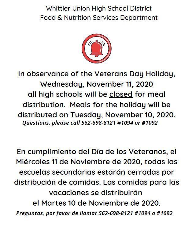Veterans Day closure flyer