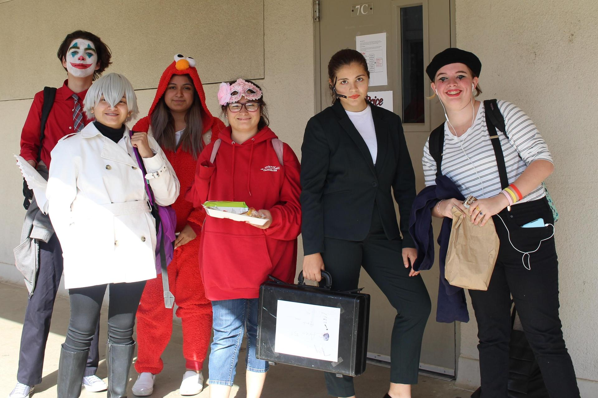 David Patino as the joker, Leanna Perales as an anime character, Mitzy Vasquez-Martinez as Elmo, Jamie Borbon as masquerade, Hope McCue as an F.B.I. agent, Isabel Rogers as a mime