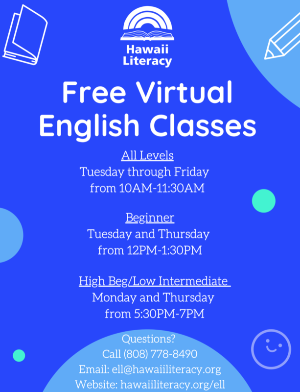 Hawaii Literacy is offering FREE virtual English classes for adults! Featured Photo