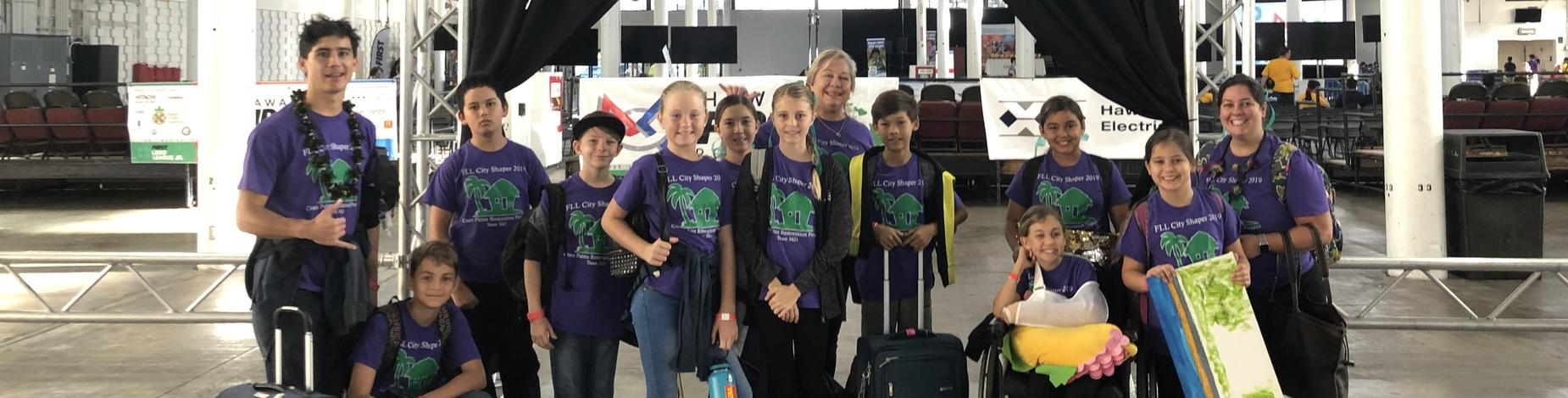 Team 3421 arrives at Neil Blaisdell Exhibit Hall for the big event, FLL State Championships!
