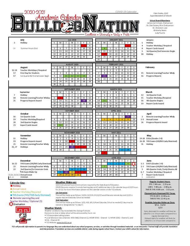 Proposed 2020-21 Calendar