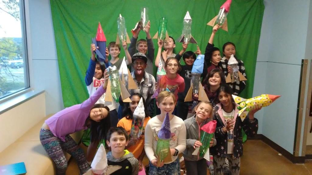 Fifth graders build and launch their own rockets.