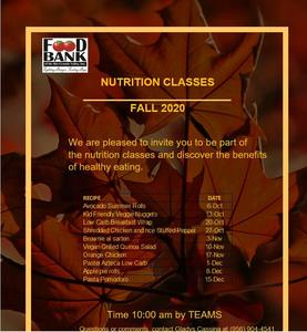 Schedule for Nutrition Classes