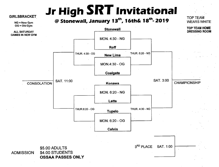Junior High SRT Basketball Tournament- Jan. 13th, 16th, & 18th Featured Photo