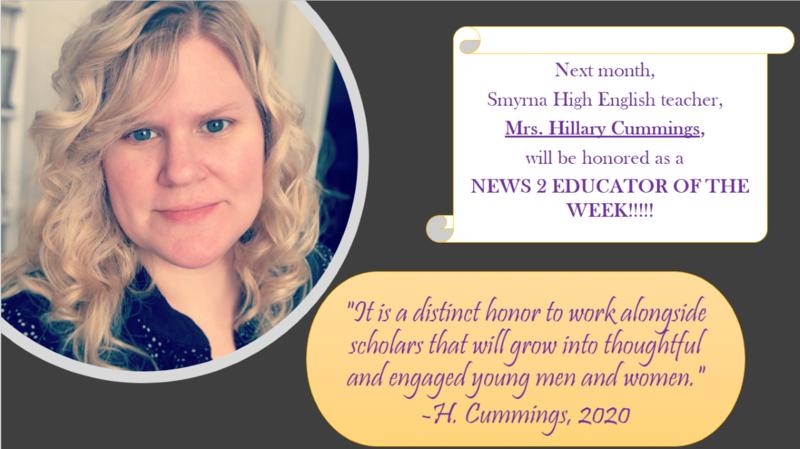 Mrs. Cummings is Channel 2 Educator of the Week!