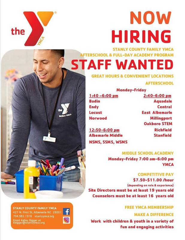 The Stanly County YMCA is now hiring after school and full day academy program staff to support SCS students. See flyer for information! #YMCA #wattwatt Featured Photo