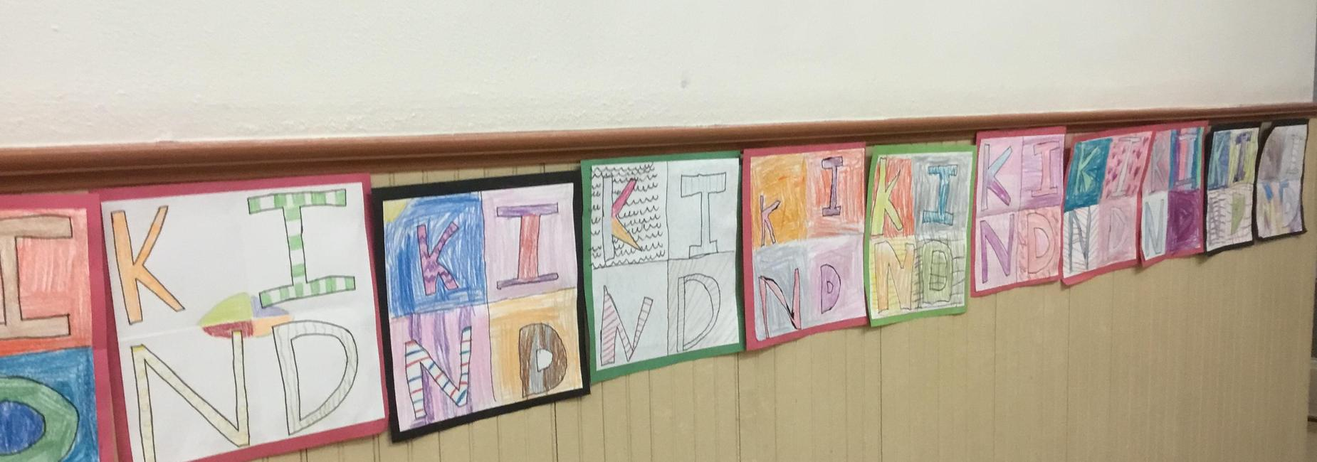 Kid art with KIND in colorful letters