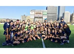 Members of Mars Area High School Girls Varsity Soccer Team gather for a team photo after winning the 2019 WPIAL Class 3A Girls Varsity Soccer Championship Title.