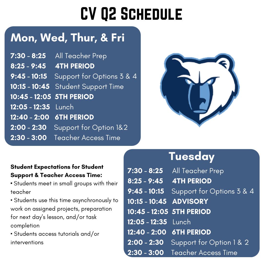 CVHS Q2 Schedule