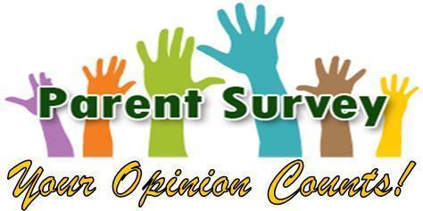 Image that read Parent Survey - Your opinion counts to announce survey