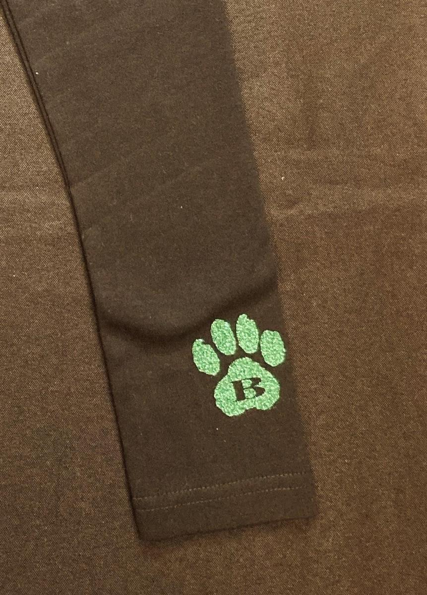 "Black Leggings with Green Glitter Wolf Paw ""B"""