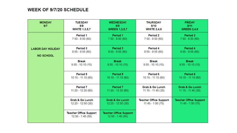 Week of September 7 Schedule