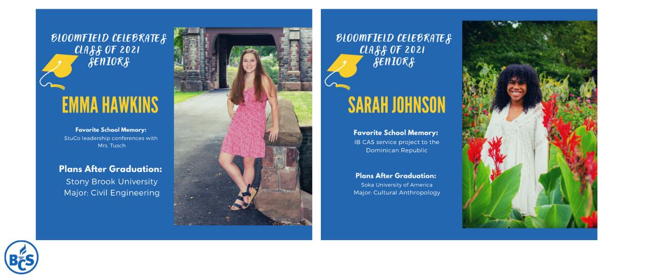 information about emma hawkins, and sarah johnson, seniors