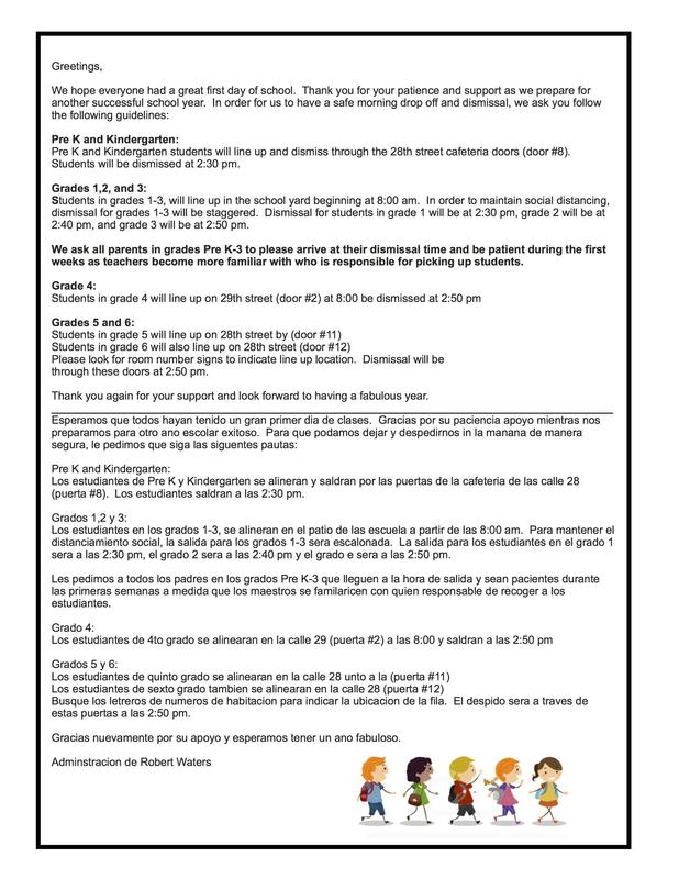 Drop-Off & Dismissal Procedures letter