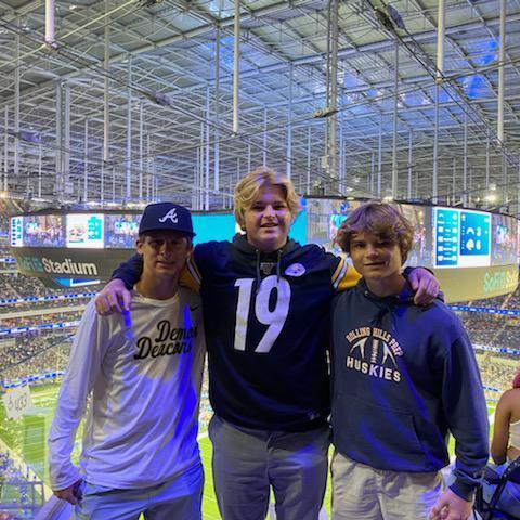 Husky Football Players at the Rams vs. Chargers game at SoFi stadium