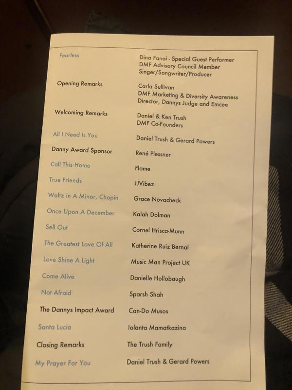 Closeup of the program page with the names of the performers.