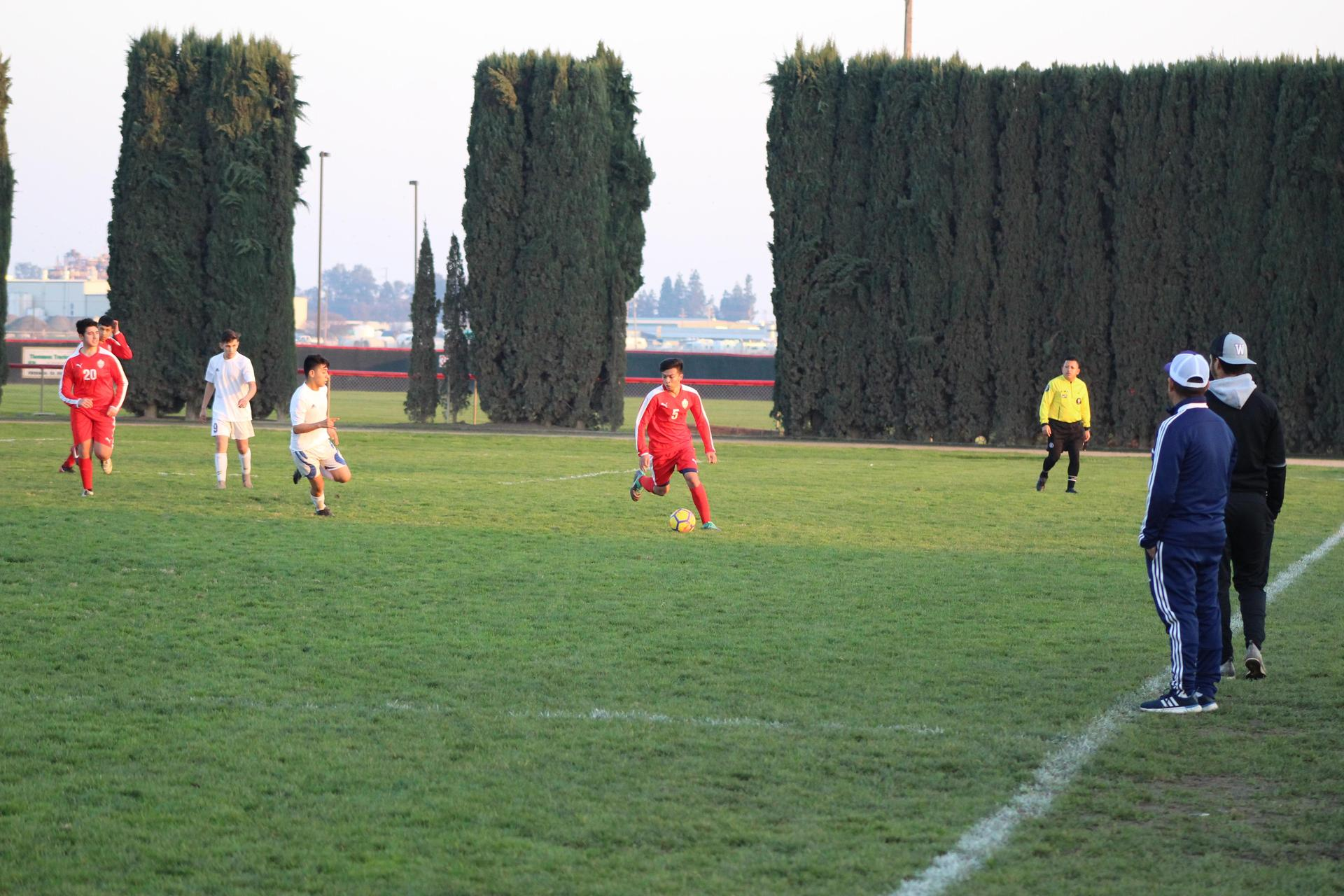 Boys playing soccer against Washington union