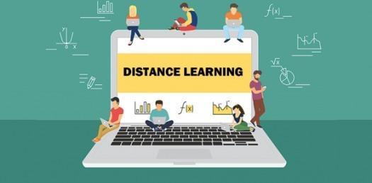 A graphic with people sitting on a laptop while using laptops and text saying the words distance learning.