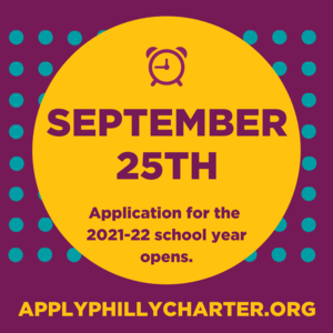 Applications for the 2021-2022 School Year are now open through January 25, 2021! Visit Apply Philly Charter for more information and to apply. Featured Photo