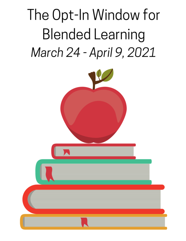 The Opt In window for Blended learning is March 24-April 9. Apple on top of books