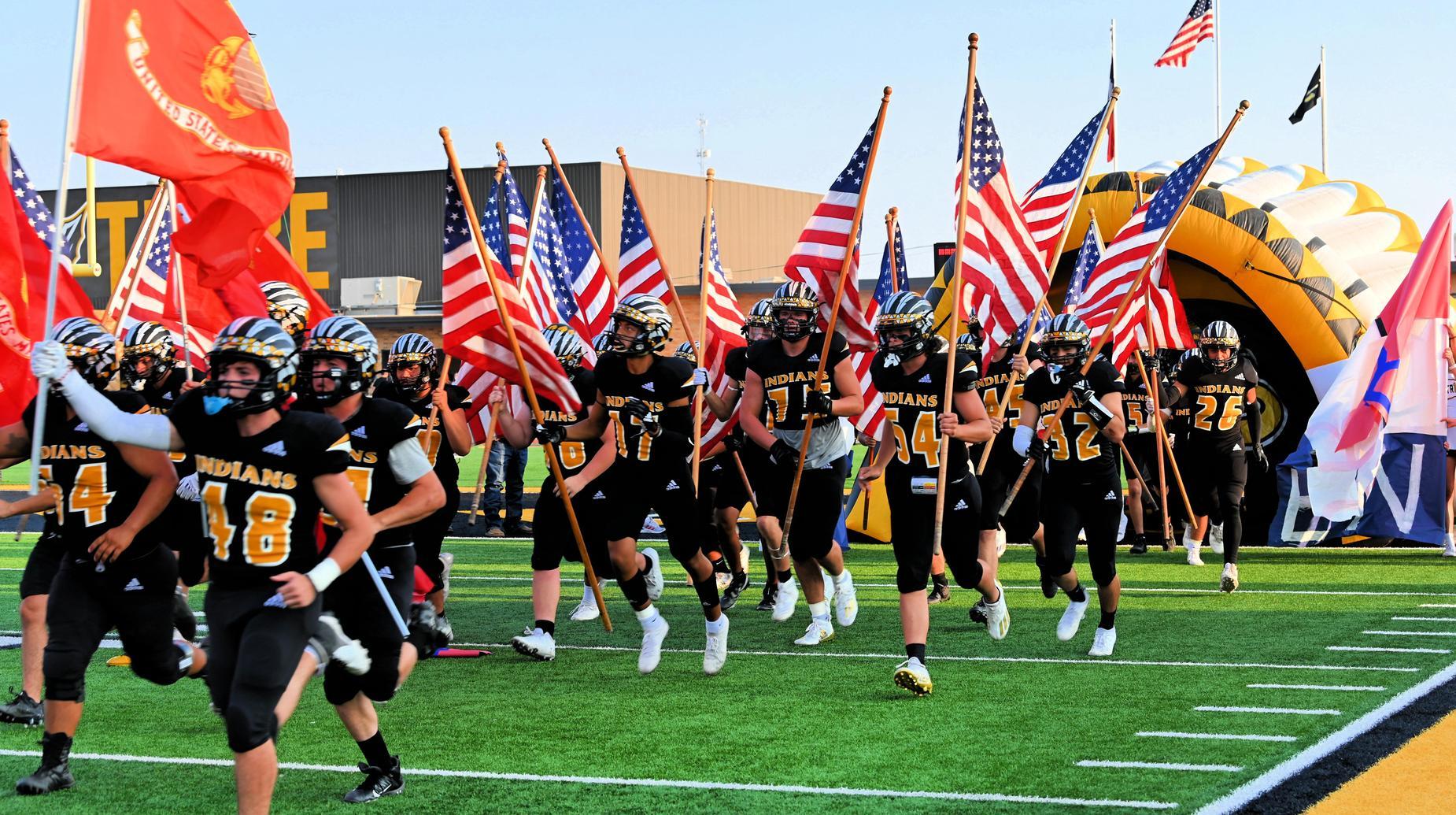 football boys with flags