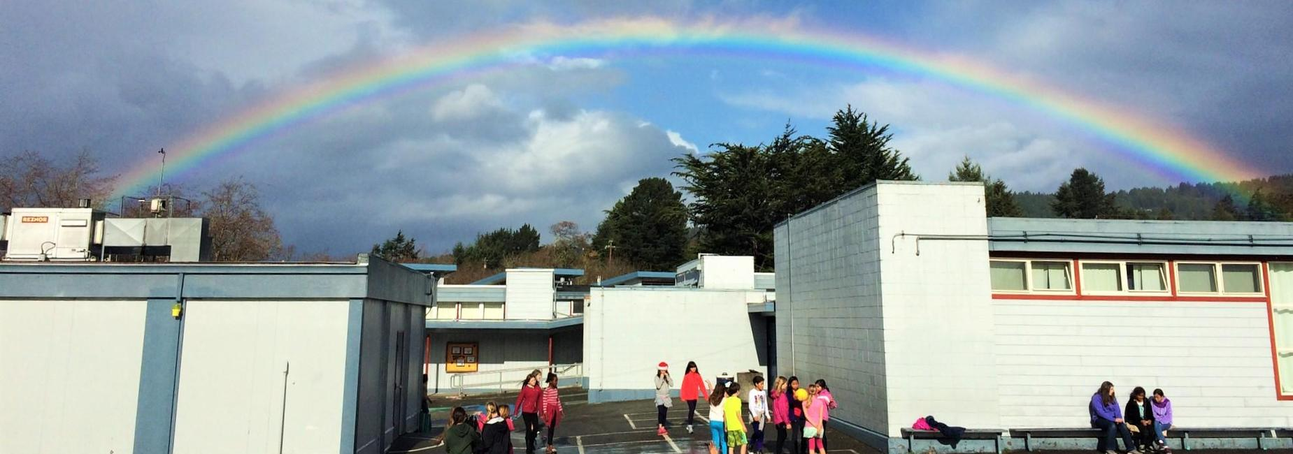 Rainbow over Jacoby Creek School