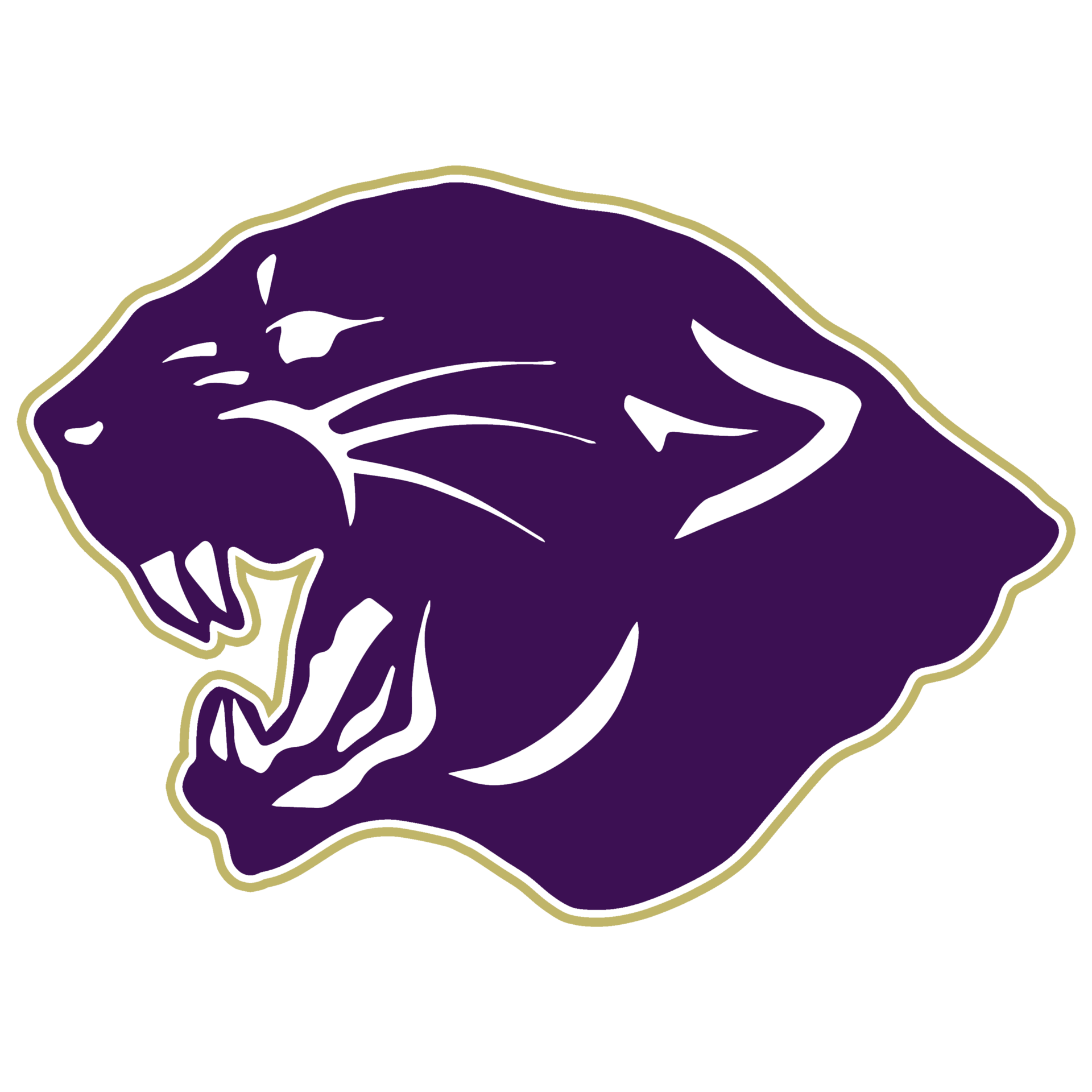Purple Panther Head with Gold Outline