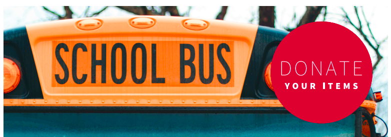 School Bus with Red Donation stop sign