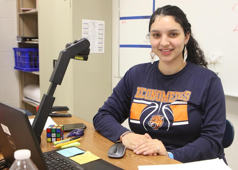 Edinburg CISD Teacher Silvia Perez sits at her desk at Economedes High School.