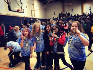 Photo of Westfield students who placed 1st at recent regional competition of Odyssey of the Mind.