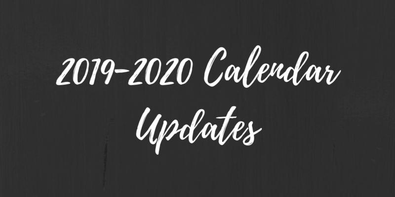2019-2020 Calendar Updates Thumbnail Image