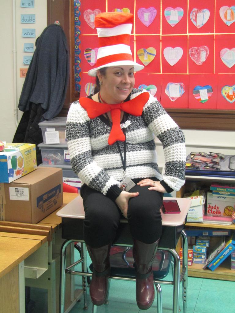 aide dressed as cat in the hat