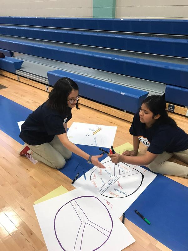 two girls sitting on gym floor working together on two posters