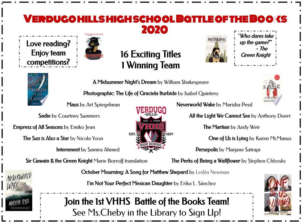 Flyer for Battle of the Books 2019-20
