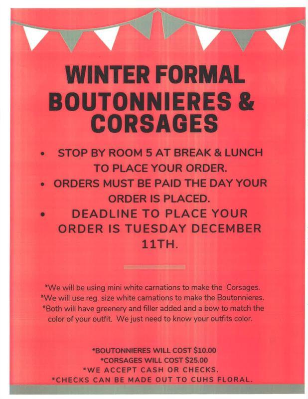 Winter Formal Flower Order Poster