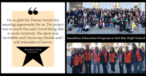 photo montage from del mar high school hamilton education program event