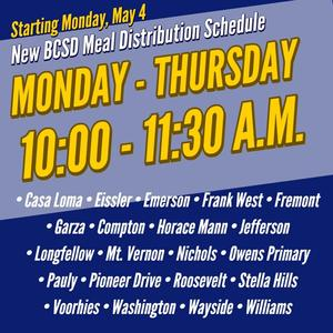 New Meal Serving Times Start May 4th