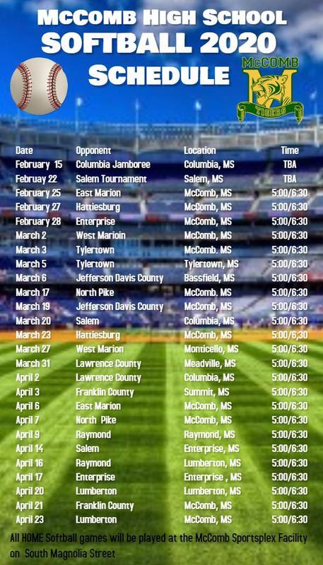 McComb High School Softball Schedule 2020  #ItsComeBackTime