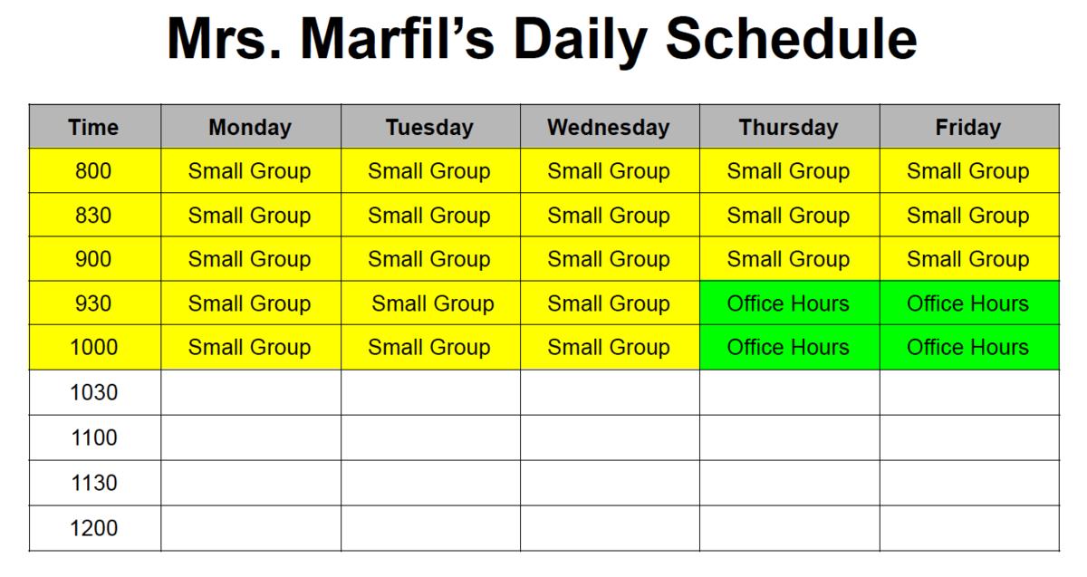 Marfil's Schedule