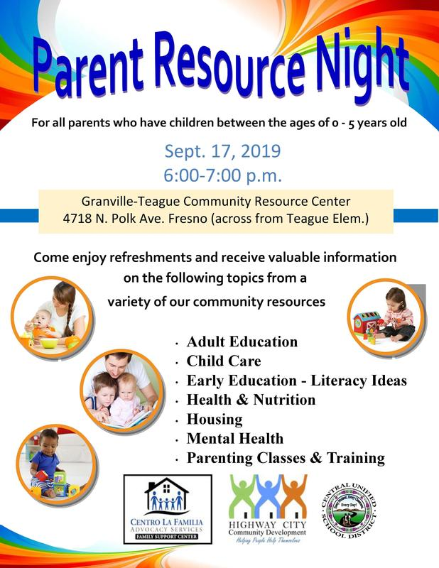 Parent Resource Night Flyer