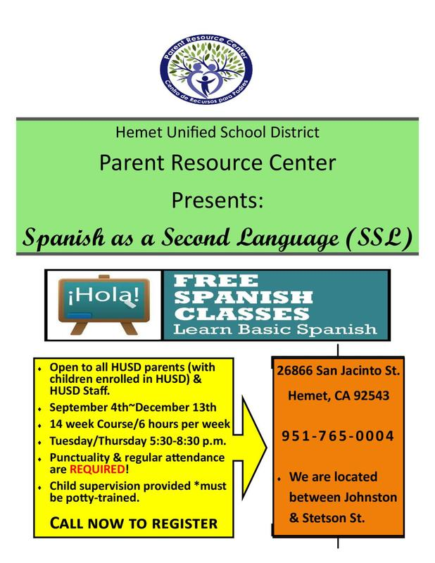 Free Spanish Classes Flyer