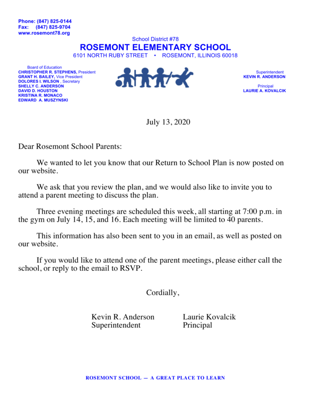 Return To School Plan - Letter 7/13/2020
