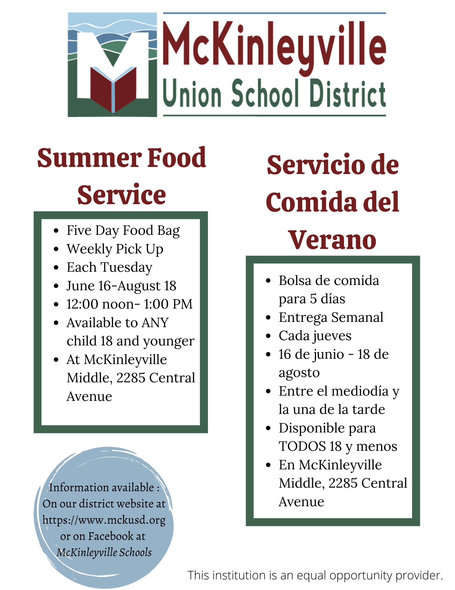 Poster with Summer Food Service Details
