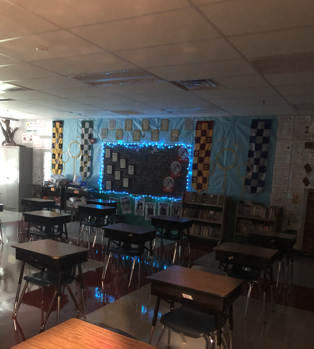 The last three pictures are just what the classroom looks like when the lights are off. This is the back bulletin board.