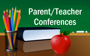 image of chalkboard with Parent Teacher Conferences