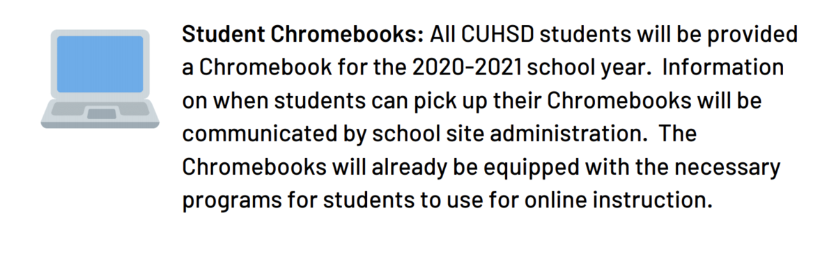 Screenshot of district info regarding chromebooks.