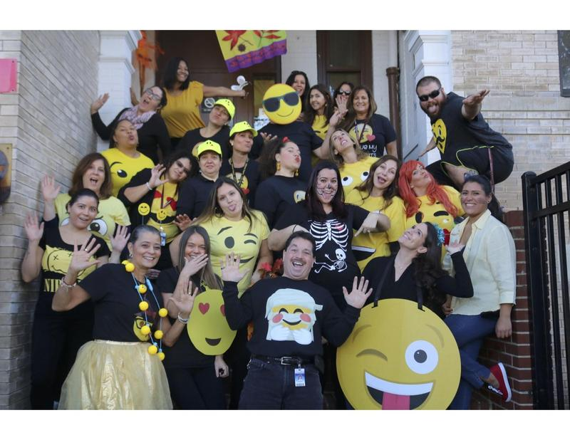 admin & teachers as happy emoji's for halloween