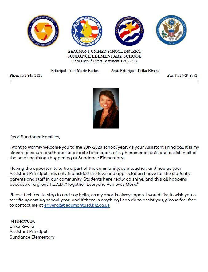 Welcome letter from our Asst. Principal